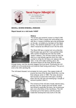 """Bexhill Downs Windmill Remains: Report based on a visit made 14/9/07"""
