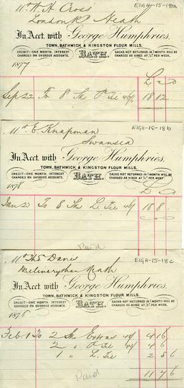 Accounts due to George Humphreys, Town, Bathwick and Kingston Flour Mills
