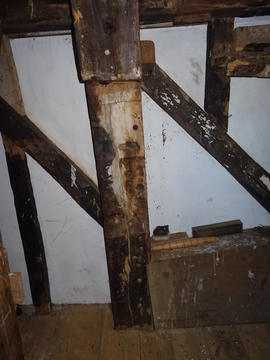 Stone floor side framing, showing main corner post, Hogg Hill Mill, Icklesham