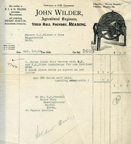 Billhead receipt of John Wilder, Yield Hall Foundry, Reading