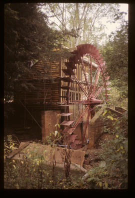 Painshill Park Waterwheel, Cobham, Surrey, newly painted