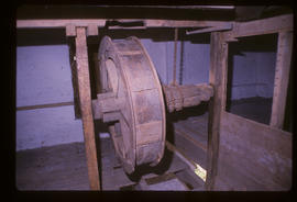Crowdy Mill, Harbertonford, Devon, sack hoist pulley and windlass