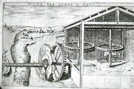 """Zonca 1607, Horse powered water lifting wheel"""