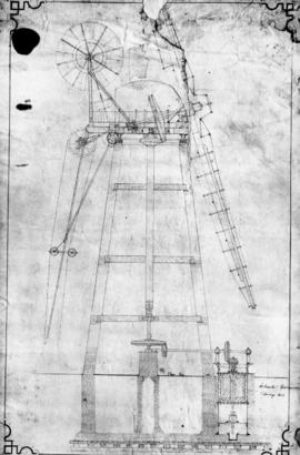 Section drawing of drainage mill by Daniel England
