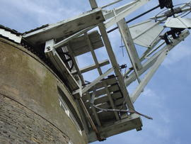 Looking up at fantail and fanstage, Great Mill, Haddenham