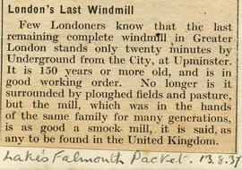 """London's last windmill"""