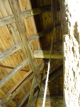 Sack hoist mechanism and roof framing, Brill Windmill, Brill