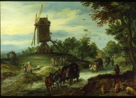"""Brueghel - view of a  post mill"""