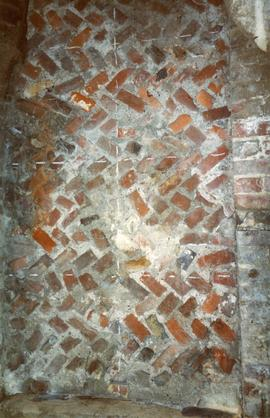 Herringbone pattern of brickwork of internal wall of base, New Mill, Rottingdean