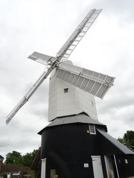 External view (in this and subsequent views note extension to lower floor of roundhouse), Windmill Hill Mill, Herstmonceux