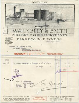 Bill from Walmsley & Smith Millers, Millers & Corn Merchants, Barrow-in-Furness