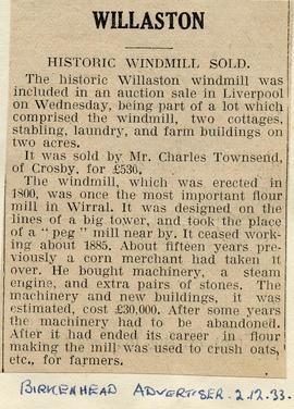 """Historic windmill sold"""