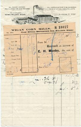 Bill from E H Monks of Walgate, Wigan Corn Mills, Wallgate, Wigan