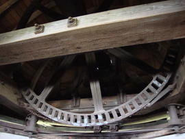 Brakewheel, cap frame, curb, rollers and integrated truck wheel.roller units, Cadge's Mill, Reedham