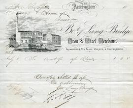 Billhead receipt of Lang Bridge, Iron and Steel Merchant, Accrington