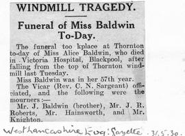 """Windmill Tragedy - Funeral of Miss Baldwin Today"""