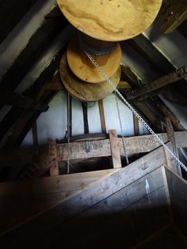 View of bin floor showing sack hoist, Hogg Hill Mill, Icklesham