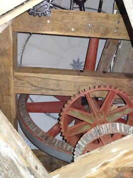 Brakewheel, wallower, windshaft, sack hoist drive and cap roof, tower mill, Quainton