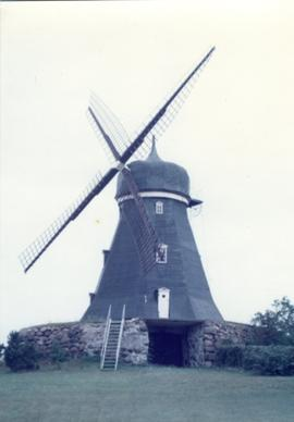 Preserved smock mill at unknown location in Sweden, summer 1974