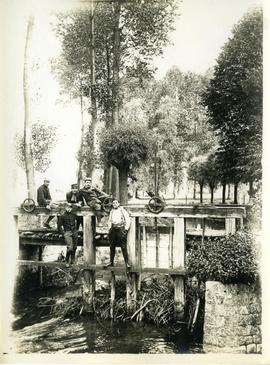 French soldiers posing on a sluice