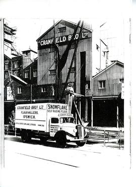 Truck in front of Cranfield's Mill