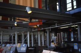 """Lowell, USA, Lowell Mill, beams in Visitor Centre"""