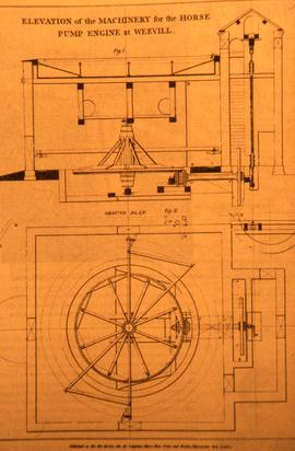 Elevation drawing of  horse pump engine