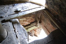 Internal view (looking down from stone floor into spout floor), tower mill, Upper Tysoe