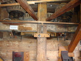 Great spur wheel, stone nuts and boarded-in upright shaft support frame, Upminster Windmill, Upmi...