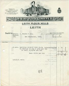 Bill from A & R Tod Limited, Leith Flour Mills, Leith