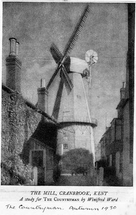 """The Mill, Cranbrook, Kent - A study for The Countryman by Winifred Ward"""