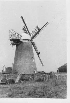Medmerry Tower Mill, Selsey, four damaged sails, damaged fantail