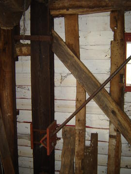 Section of spout floor side framing, post mill, Madingley