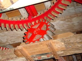 Great spur wheel and nut of sack hoist drive, Cattell's smock mill, Willingham