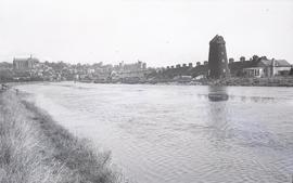 """Windmill, River Arun and distant view of Castle, Arundel, Sussex"""