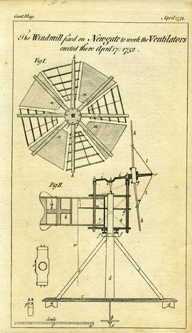 """The Windmill fixed on Newgate to work the Ventilators erected there April 17: 1752"""