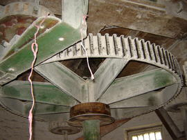 Great spur wheel, stone nut and nut of secondary upright shaft, tower mill, Whissendine
