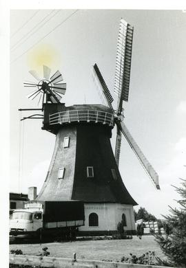 Preserved/converted smock mill at unknown location in West Germany, summer 1974