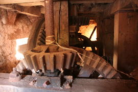 Sampford Brett Mill gearing - pit wheel, drive to stones via lineshaft plus upright shaft to crow...