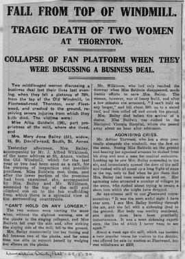 """Fall From Top Of Windmill - Tragic Death Of Two Women At Thornton"""