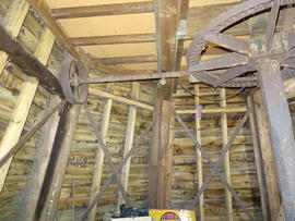 Upright shaft, crownwheel and lineshafting, smock mill, Crowfield