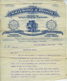 Correspondence relating to a Whitmore and Binyon Roller Mill at Hildersham Mills