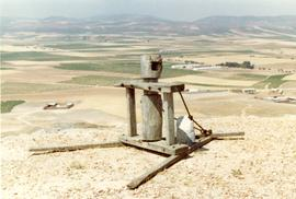 Capstan on ground at the La Mancha windmills, Spain, July or August 1981