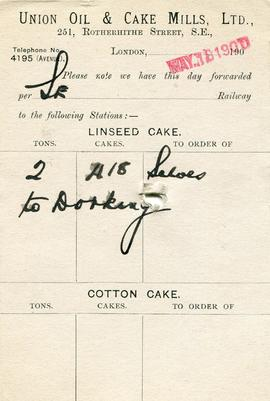 Dispatch card of Union Oil and Cake Mills Ltd, Bermondsey