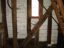 Detail of spout floor framing, post mill, Madingley
