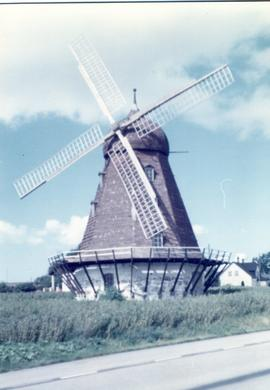 Preserved smock mill at unidentified location in Sweden, summer 1974