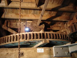 Great spur wheel and nut for machine/sack hoist drive, Smock mill, Fulbourn