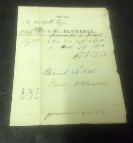 Invoices from W Blundell, Bell End Mill, to Hodgetts