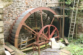 Downhead Mill - import from East Coulston, Wiltshire, about 15' x 3' poss by Bayford and Son