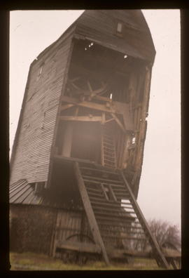 St Leonard's Mill, Winchelsea, derelict and sailless, with tail of buck torn out by storm
